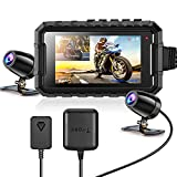 Motorcycle Camera Dash Cam, WonVon A1 1080P+1080P Dual Front Rear Bike Dashcam with 3'' Adjustable Brightness Screen G-Sensor Loop Recording Bike Cycle Driving Recorder, Non-Waterproof