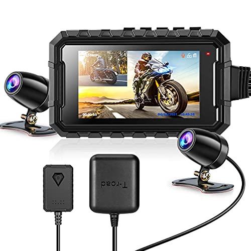 """WonVon WonVon DashCamera 2.7"""" LCD Schermo Moto Motociclo WiFi Dual Obiettivo Anteriore e Posteriore GPS Visione Notturna, sensore G, 256 GB"""