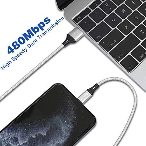AVIWIS Phone Ladekabel Zertifiziert [2Pack 2M] Nylon Phone Kabel USB Ladekabel Kompatibel für Phone 11, 11 Pro, 8, 8 Plus, 7, 7 Plus, 6s, 6s Plus, 6, 6 Plus, 5s, 5c, 5 - Silber