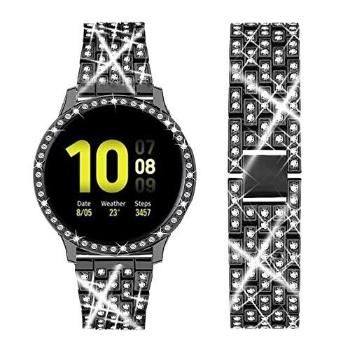 DEALELE Armband Kompatibel mit Samsung Galaxy Watch Active 2 40mm / Active 2 44mm, Glänzendes Diamant Edelstahl Metall Uhredrmband mit Schutzhülle, Schwarz, 44mm
