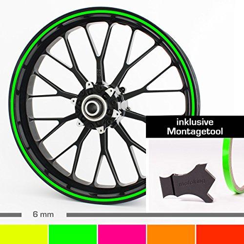 Motoking Felgenrandaufkleber mit Montagetool für Ihr Motorrad in NEON / 6 mm/für 10