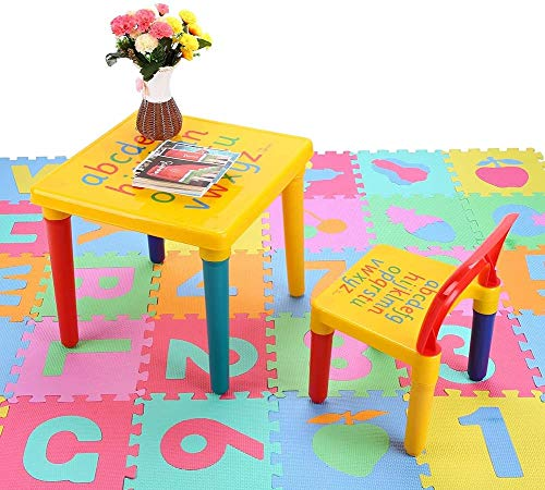 Greensen Kindertisch mit Stühle Kinder Sitzgruppe Alphabetische Tisch Stühle Kinder Bunt Kindermöbel Sitzgruppe Lernspiel Geschenk für Kinder über 3 Jahren