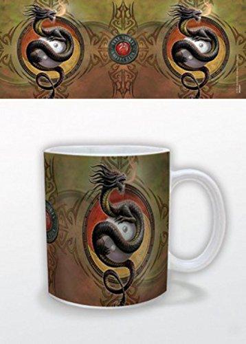 1art1 Gothique, Protecteur Dragon Yin Yang, Anne Stokes Tasse À Café Mug (9x8 cm) + 1x Sticker Surprise