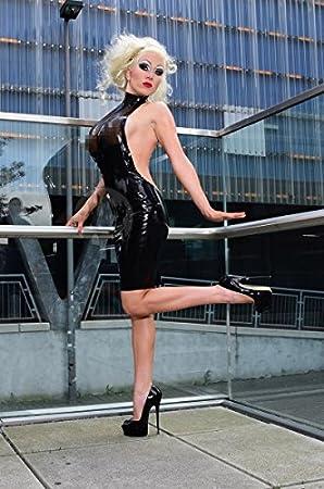 Macinger Latex Kleid Diva Farbe Schwarz Kontrast Rot Latexstarke 0 60mm Amazon De
