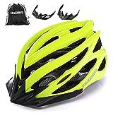 KINGBIKE Adult Bike Helmet Ultralight with Bicycle Helmets Portable Backage and Safety Rear Led Light Visor for Men Women Cycling Biking(M,Green)