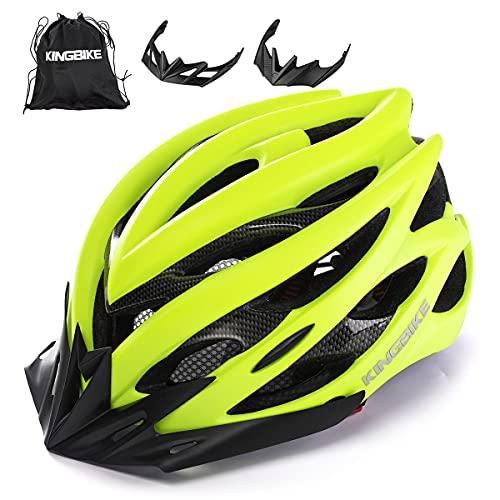 KING BIKE Casco per bicicletta con luce LED per uomini donne Casco sul caschi Articoli sportivi Caschi per biciclette Ltd Racing Bike Mountain Shell MTB (verde, M/L (54-59CM))