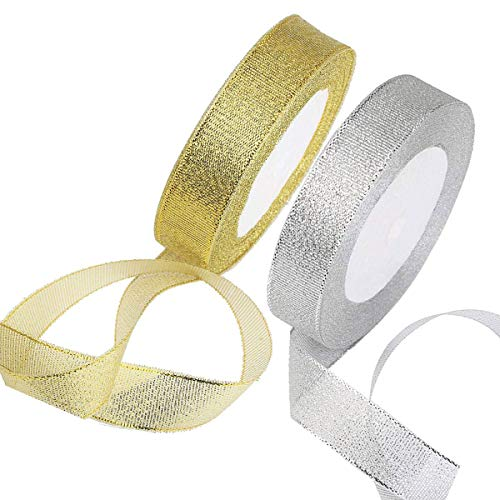 Cinta de organza, 2 unidades de cinta de oro y plata para...