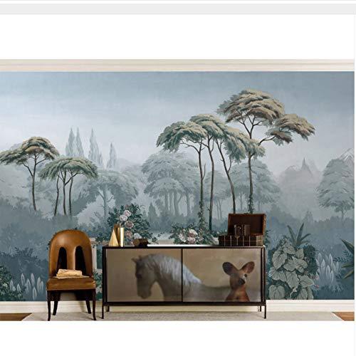 Ljtao Vintage Tapeten Aufkleber Cartoon Tropical Jungle Wallpaper Wandbild 3D Wohnzimmer Schlafzimmer Vinyl/Seide Tapete-200Cmx140Cm