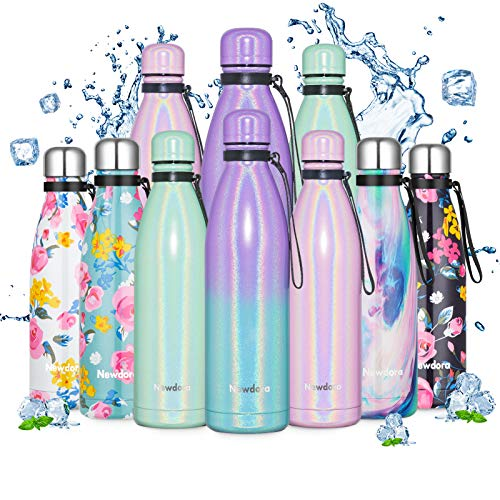 Newdora Stainless Steel Water Bottle, Double Walled Vacuum Insulated Water Bottles, Leak-proof Thermos Flask, Sports Flasks, Keeps 12 Hours Hot & 24 Hours Cold, 17OZ/500ML