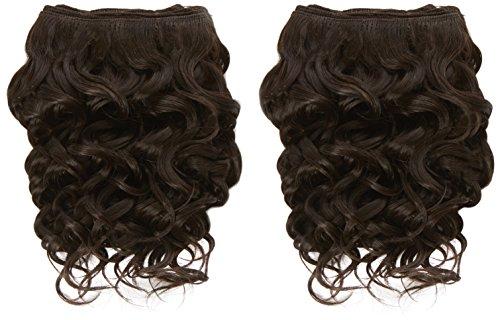 chear espagnol Wave 2 en 1 trame Extension de cheveux humains avec de mélange tissage numéro 2, marron foncé 20 cm