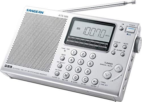 Sangean ATS-405 Receptor Mundial (FM/MW/kw-sintonizador, ATS, emisoras, Reloj, Despertador, conexión para Auriculares) y Funda de Plata