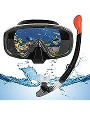 Snorkelset, droge snorkelset voor volwassenen en kinderen, snorkelmasker met opvouwbare snorkel en duikbril, waterdicht duikmasker, anti-condens, anti-lek van gehard glas (blauw/roze/zwart)
