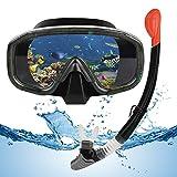 VAVADEN Set Snorkeling, Set per Lo Snorkeling a Secco con Snorkel Pieghevole e Occhiali per Immersioni, Maschera Subacquea Impermeabile Anti-Appannamento Anti-Perdita per Adulti/Bambini (Nero)