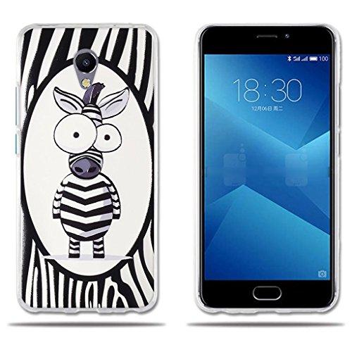 FUBAODA für Meizu M5 Note 5 Hülle, [Cute Zebra] Transparente Silikon Clear TPU Fashion Creative 3D zeitgenössischen Chic Hybrid Schock Absorbing Cute Design Matte Full-Body Schutz für Meizu M5 Note 5