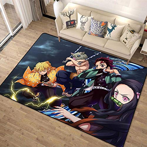 Anime Demon Slayer Print Felpudo Impreso Divertido Alfombra de Dormitorio Ninguno Felpudo Antideslizante Alfombra de Puerta Delantera Antideslizante-A_60x90cm