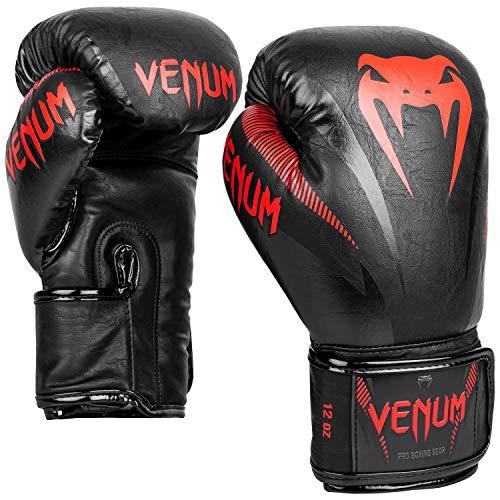 Venum Unisex– Erwachsene Impact Boxhandschuhe, Schwarz/Rot, 16 oz