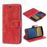 Mulbess Handyhülle für Moto G5 Hülle, Leder Flip Case Schutzhülle für Motorola Moto G5 Tasche, Wein Rot