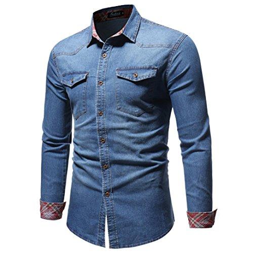 Kanpola Herren Hemd Männer Regular Fit Langarmshirt Freizeithemd Für Business Hochzeit Freizeit Mantel Outwear Button-Down Jeanshemd Denim...