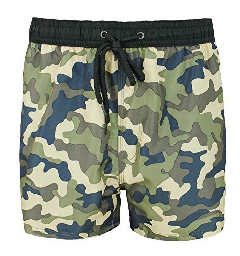 Evoga Bañador de hombre militar camuflaje camuflaje camuflaje calzoncillos bóxer cortos playa Negro y beige. 3XL