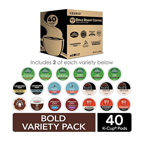 Keurig k-cup pod variety pack, single-serve coffee k-cup pods, amazon exclusive, 72 count 7 includes: 3 k-cup pods from 20 popular varieties, including green mountain coffee breakfast blend, the original donut shop regular, newman's own organic special blend, caribou coffee caribou blend, tully's coffee italian roast, and many more variety: sample different coffees and discover your favorites from a wide variety of roasts, flavors, and brands compatibility: contains authentic keurig k-cup pods, engineered for guaranteed quality and compatibility with all keurig k-cup coffee makers
