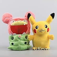 12'' Anime Mega Slowbro's Poncho-clad Pikachu Plush Toy NWT Stuffed Dolls Japanese Cartoon Figure Toys Gift for Children