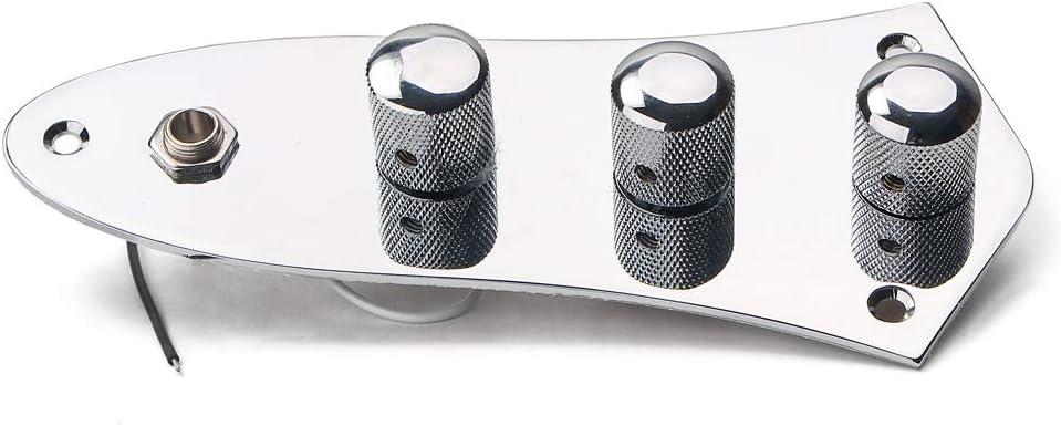 Alnicov Placa de control totalmente cargada con placa de control precableada con tapa de metal cromado para guitarra Fd Jazz, bajo, estilo J