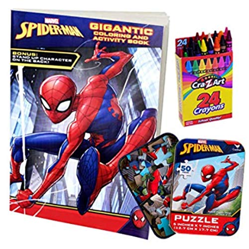 ColorBoxCrate Spider-Man Far from Home Coloring Book Toy Set 3 Pack Includes Spiderman Coloring and Activity Book, Spider Man Puzzle, and Crayons for Children Ages 3 to 8