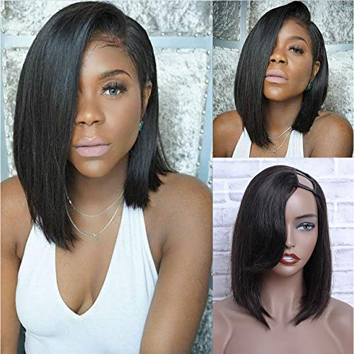 12inch Human Hair Wigs for Black Women 150% Density U Part Wig Human Hair Upgraded Left Side U Part Bob Wig Human Hair 100% Brazilian Virgin Human Hair Wig Natural Color