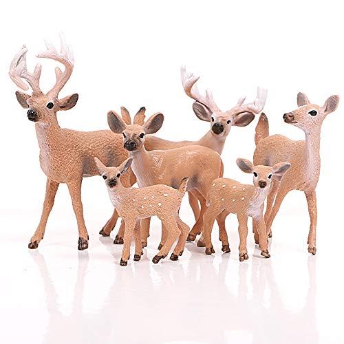 Lmfu Simulation Wald Deer Moose, Elch, Rentier, sika Deer Tier Modell Dekoration Kuchen Topper Spielzeug 6 Teile/Satz lmfu