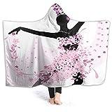Manta de franela con capucha de 50 x 40 pulgadas, ultra suave, silueta de una mujer bailando samba, salsa latina danzas españolas y mexicanas