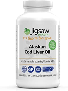 Jigsaw Health Alaskan Cod Liver Oil - with Omega-3 Fatty acids, Vitamin A and Vitamin D - 180 softgels per Bottle