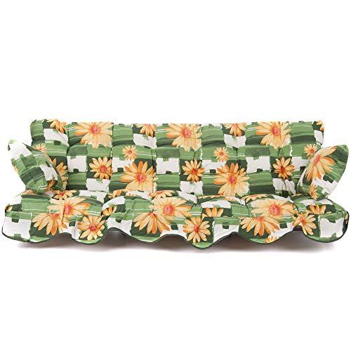 PATIO Auflagen Set für Hollywoodschaukel Polsterauflage Sitzkissen Rückenkissen Seitenkissen Gesteppt A001-02BB 184 cm Minorca (Baumwolle, Mehrfarbig)