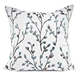 YOUR SMILE Classical Embroidery Jacquard Teal Leaf Pattern Square Decorative Throw Pillow Case Cushion Cover 18 x 18 inch