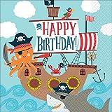 Amscan 9904649 - Servietten Ahoy Birthday, 16 Stück, 33 x 33 cm, Partygeschirr, Kindergeburtstag