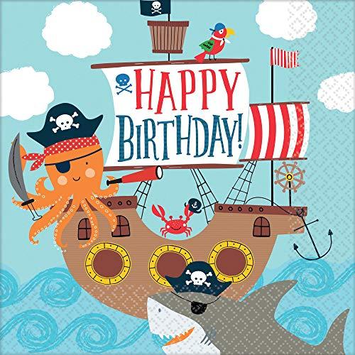 Amscan 9904649 16 Servietten Ahoy Birthday, Blau