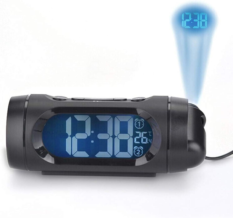 Proyección del Reloj de Alarma En el Techo Radio FM Luz Nocturna Regulable 2 Configuraciones de Alarma Temperatura Cargador USB Hogar Dormitorio Estudiante