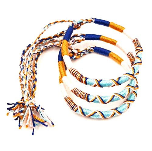 Lote de 3 pulseras brasileñas de la amistad de algodón trenzado, macramé de la suerte para hombre, mujer, niña, azul y marrón