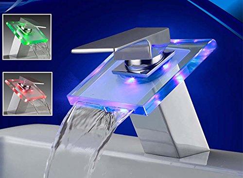 Eaxus LED RGB Wasserfall Glas Armatur Waschbecken Bad Chrom Wasserhahn Waschtisch Einhebelmischer Waschtischarmatur Einhandmischer Badarmatur Waschbeckenarmatur