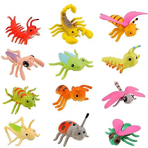 12 Stück Insekten Bugs Spielzeug BESTZY Insektenfiguren Spielzeug Käfer Cicada Lady Bugs Locust Spider für Kindererziehung oder Themenpartys