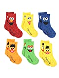 Sesame Street Elmo Boys Girls Multi Pack Crew Socks with Grippers (4T-5T, Bert Ernie 6 pk)