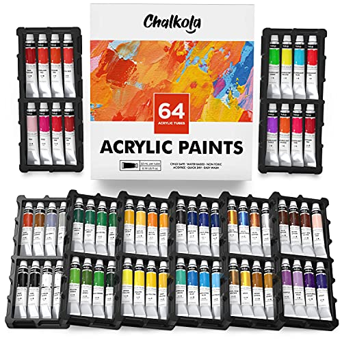 Chalkola Acrylic Paint Set for Adults, Kids and Artists - 64 Acrylic Paint kit (22ml) - Non Toxic Acrylic Paints for Canvas Painting, Wood paint for crafts, Ceramic Paint - Art supplies for kids