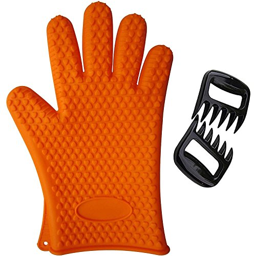 BBQ Grill Glove with Meat Claws Bear Paw Shredder Forks - Silicone Heat Resistant Grilling Accessories and Home Kitchen Tools for Indoor and Outdoor Cooking Needs
