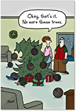 12 'Theme Tree' Boxed Christmas Cards with Envelopes 4.63 x 6.75 inch, Funny Bowling Bowl Christmas Tree Holiday Notes, Hilarious Cartoon Christmas Card, Silly Christmas Stationery B5832