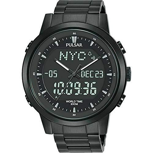 SEIKO PULSAR PZ4061X1 Digital Analogue Chronograph World Time Watch Black セイコー パルサー デジタル アナログ クロノグラフ ワールドタイム 100m防水 腕時計 ブラック 黒 [並行輸入品]