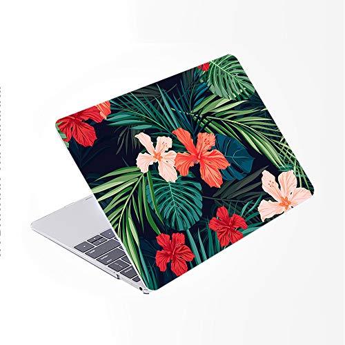 SDH Funda para MacBook Pro de 15 pulgadas 2019 2018 2017 2016 lanzamiento A1990 A1707, patrón de plástico y piel de teclado degradado compatible con Mac bookPro 15 Touch Bar & ID, Plant Leaves 3