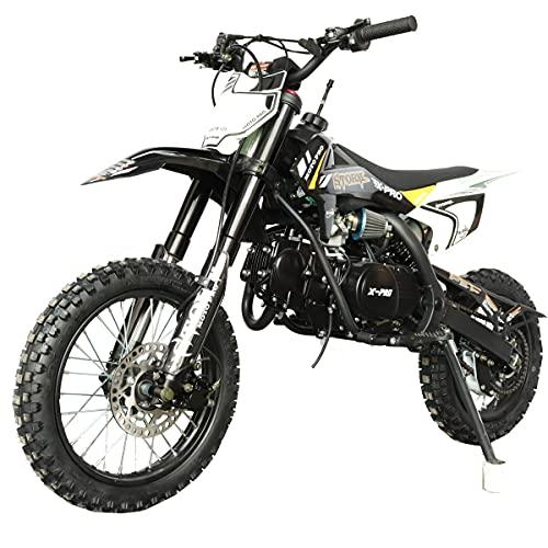 "X-PRO Storm 125cc Zongshen Engine Kids Dirt Bike Pit Bike Youth Dirt Pit Bike with 4-Speed Manual Transmission,Big 14""/12"" Tires! (Black)"