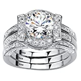 Platinum over Sterling Silver Round Cubic Zirconia Jacket Bridal Ring Set Size 8...