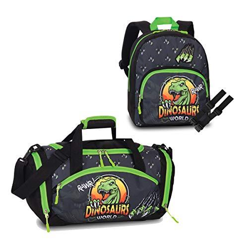 3 er Set Kinder - Rucksack + Sporttasche + Brustgurt GURTIES Dino Deer 3-8 Jahre (schwarz)