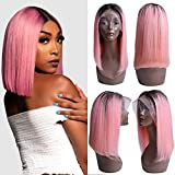 Usexy Hair Black Pink Lace Bob Wigs Straight Virgin Human Hair Pre Plucked 13×4 Swiss Lace Frontal Middle Part 130% Density Pink Color Bob for Women(Wholesale Price)