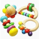 Dastrues Baby Rassel Holz Spielzeug Handbell Musikinstrument